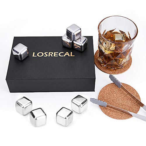 【Newly Gift Set】LOSRECAL Stainless Steel Ice Cube, 8 Pcs Whiskey Stones, Whiskey Stainless Steel Ice Cubes Best Men Gift with Cork Coaster and Tongs and Trays for Anniversary Birthday Valentine's Day