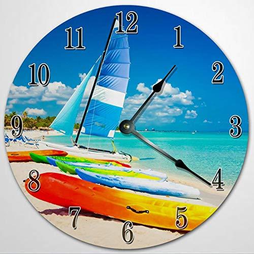 WINDSURF - Reloj de pared para sala de estar, 12 pulgadas, de madera, funciona con pilas, decoración de pared de granja, decoración del hogar