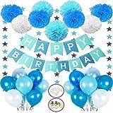 Hook Deko Geburtstag Junge, Geburtstagsdeko, Happy Birthday Girlande Dekoration mit 18pcs Ballon,...