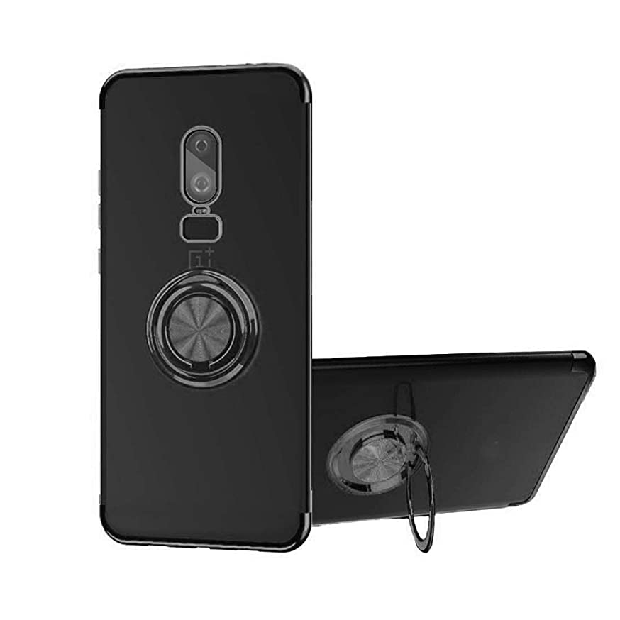 OnePlus 6 Case, [with 360° Stand ] Rotating Ring Crystal Clear [Electroplated Metal Technology] Silicone Soft TPU [Shockproof Protection] Ultra Thin Cover Kickstand for OnePlus 6 (Black, OnePlus 6)