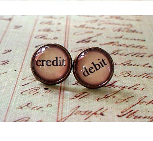 Vintage style Credit and debit stud earrings