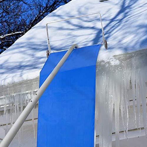 Rechenwerkzeug Zur Schneeräumung Auf Dem Dach,Werkzeugkopf Zur Schneeräumung Perfekt Für Verschiedene Dächer Reichweite Bis Zu 20 Fuß Teleskop-Dachschneeharken Mit Rad Für Schweren Und Weichen Schnee