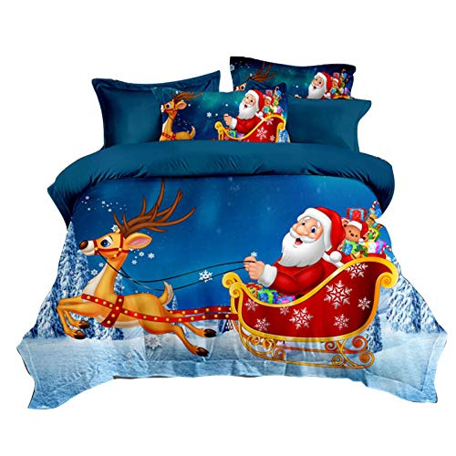 Christmas Quilt Duvet Cover and Pillowcase, Festive Quilt Cover Santa Snowman Patterns Washable Comfortable Bedding Duvet Encasement, Gifts for Family Members