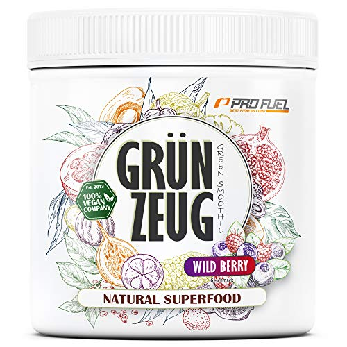 GRÜNZEUG | Das Beste aus über 40 Sorten Obst, Gemüse, Algen und Gräsern | Hochwertiges Superfood mit Vitaminen & Mineralien | DAS ORIGINAL von ProFuel | 300g - WILD BERRY