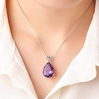 Necklace 23 Karat Drop Shape Amethyst Ladies Pendant Necklace With 18 Inches Silver Chain Women's Pendants