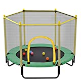 5FT Trampoline with Safety Enclosure Net, Outdoor & Indoor Mini Trampoline, Green