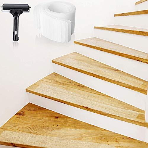 Bojim 10 x 60CM Antirutsch Treppe Streifen transparent Klebeband Set Stuffenmatten für Treppe rutschfest Boden Rutschschutz mit Walze Selbstklebend Antirutschstreifen Treppenstufen
