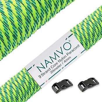 Namvo Paracorde 550 Mil Spec Type III 9 brins intérieurs en nylon Corde de parachute forte résistance à la rupture 30,5 m Rayures vertes