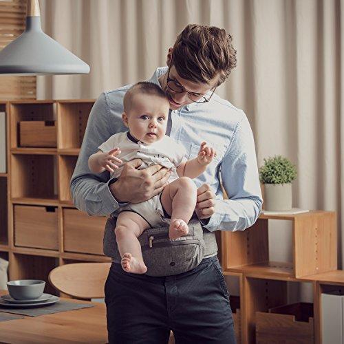 Bebamour Portabebé plegable Asiento de cadera Asiento ergonómico para la cintura de niños pequeños de 0 a 36 meses Mochila porta bebé (Gris Claro)