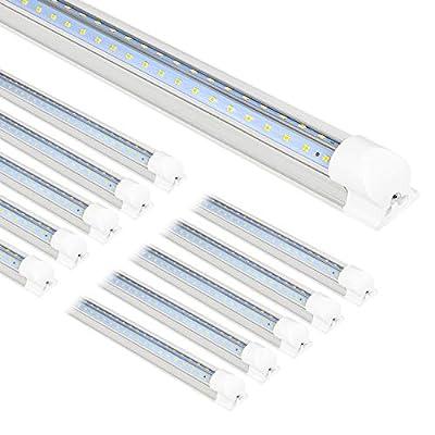 10 Pack 8FT LED Shop Light Fixture, 80W 10000LM LED Tube Light, 5000K Daylight, Linkable Shop Lights, 8 Foot T8 LED Tube Light for Garage, Warehouse, Workshop, Plug and Play, ETL Listed
