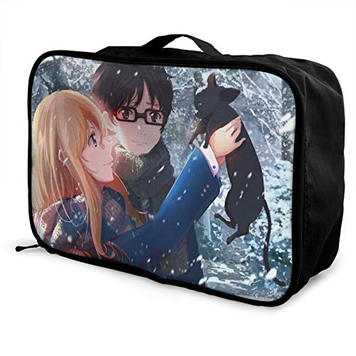 Anime Your Lie in April Bolsa de equipaje portátil de gran capacidad, impermeable, ligera, de viaje, hecha de poliéster, con patrones de impresión elegantes y exquisitos