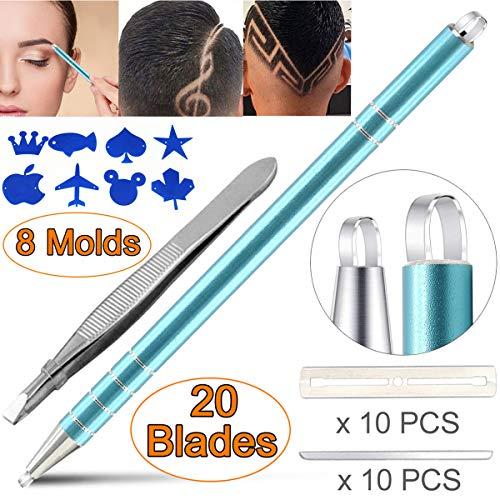 Eyebrow Hair Tattoo Razor Pen For Hair Design Art(20 Blades + 1 Tweezers + 8 Stencils) - Professional Barber Accessories Engraving Pencil Shaver Device, Magic Eye Brow Beards Styling Shaving Tool Kit