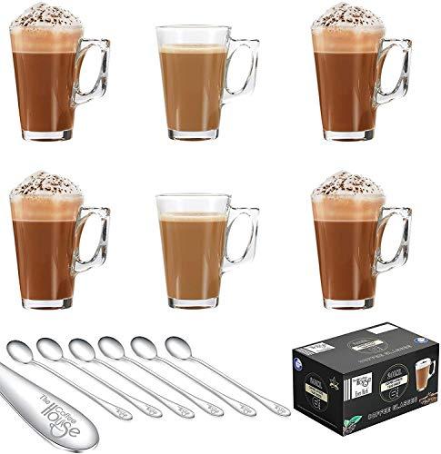 EVER RICH ® 240 ml Latte Glas Tee Tasse Kaffee (passend für Tassimo und Dolce Gusto) Set aus 6 Gläsern (6 X 240ML + Spoons)