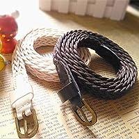 Matériel de ceintures: cuir fendu, tricoté, co Largeur de la boucle: 1.5cm Largeur de la ceinture: 1.8cm Matériel: cuir Longueur de ceinture: 105cm