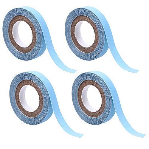 4 STUKS Lace Front Pruik Ondersteuning Tape, Haarverlenging salon Blauwe Tape Dubbelzijdig Zelfklevende Roll Plakband (0.8 cm * 3 yard)