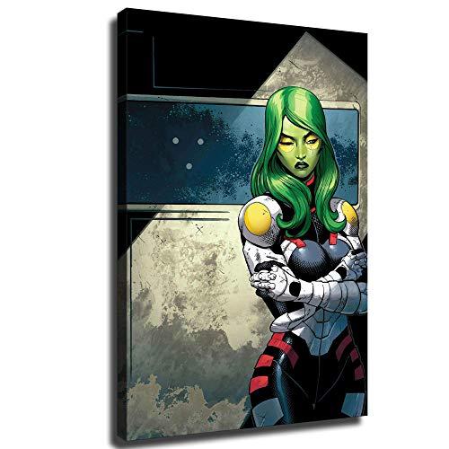 YuHui Guardianes de la Galaxia Comic Gamora Lienzo Póster y Arte de Pared Arte Impreso Moderno Dormitorio Familiar, Enmarcado, 24x36inch
