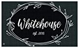 Studio M MatMates Rustic Wreath Black Personalized Indoor Outdoor Custom Mat, Your Family Name, Non-Slip Recycled Rubber Back, Printed in USA, 18 x 30 Inches