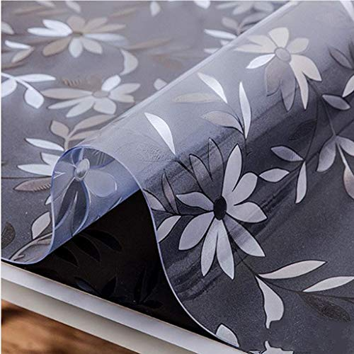 Mantel de PVC protector de mesa de plástico transparente para mesa o escritorio (color: blanco floral, tamaño: 60 x 80 cm)