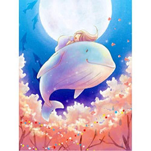 AZSXD 1000 Piezas de Piezas de Rompecabezas de Madera de Madera Niña de Dibujos Animados con Ballena blancaJigsaw Adornos de Navidad Regalo para niños Juego Familiar Juego para Adultos