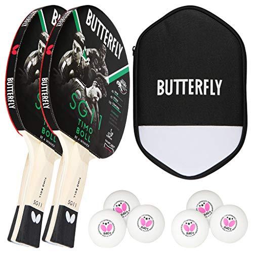 Butterfly Timo Boll 2 x SG11 Tischtennisschläger + Cell Case Tischtennishülle + 2 x 3*** ITTF R40+ Tischtennisbälle | Tischtennisschlägerset | Tischtennis Hobby Set
