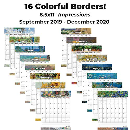 Small 2020 Wall Calendar (Impressions) 8.5x11 Inches, Stunning Hanging Calendar, Use to December 2020, with Stickers for Calenders 2020, Monthly Calendars by Cranbury