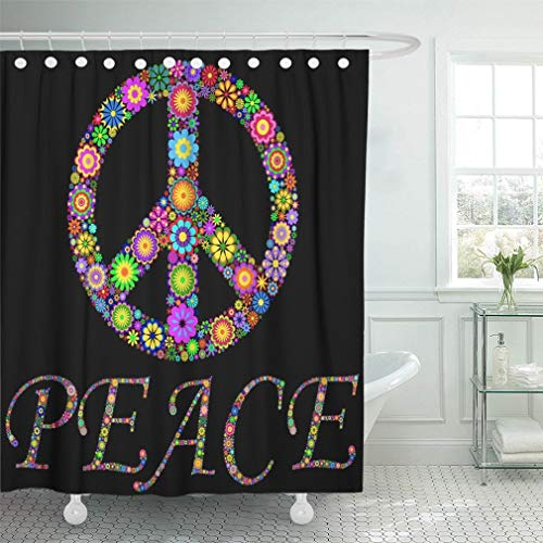 Abaysto Blue Peace of Colorful Pacific Symbol On Black Green Sign Hippie Daisy Flower Color Bathroom Decor Shower Curtain Sets with Hooks Polyester Fabric Great Gift