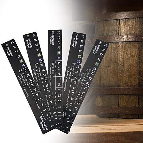 Jimdary Termometro Adesivo per Birra, Display LCD della Temperatura sul termometro per Birra, termometro Adesivo da 5 Pezzi Birra Fatta in casa Durevole per Cucina Ristorante casa