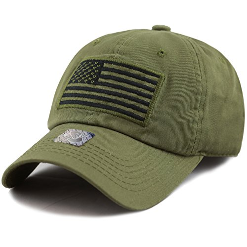 The Hat Depot Low Profile Tactical Operator USA Flag Buckle Cotton Cap (Olive-2)