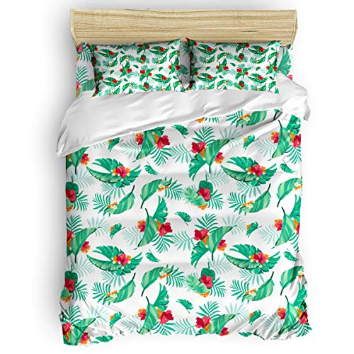 IMUSEN Hibiscus Flowers and Palm Leaves Comforter Set Queen Size 4 Pieces Ultra Soft Breathable Bedding Sets with 1 Comforter Cover 1 Bed Sheets 2 Pillowcases, All Season Lightweight Duvet Cover Set