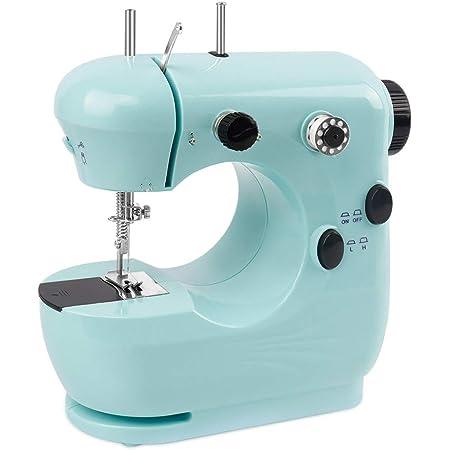 Mini máquina de coser – Máquina de coser eléctrica portátil y ligera para principiantes, costura fácil con doble hilo y brazo libre, ajustable de 2 velocidades con pedal de pie, color azul
