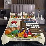 Colcha japonesa acolchada para niñas y niños, temática japonesa Ukiyoe acolchada, colcha decorativa exótica Fuji Mountain Coverlet Set Cherry Blossom acolchado tamaño doble 3 piezas ropa de cama