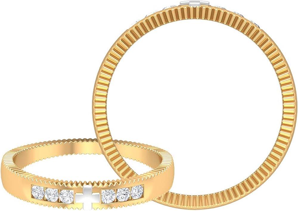 Rosec Jewels – Simple Wedding Ring with HI-SI Diamond, Cross Ring, 14K Gold