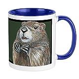 Taza de café con diseño de marmota emergente