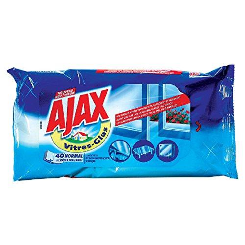 Ajax Pochette de 40toallitas desechables Triple Acción para los lunas