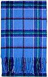Bufanda 100% Lana de Cordero Cálida y Suave in World Peace Tartán Azul Claro - Regalos Escoceses para Hombre Mujer Chales de Invierno Toquillas Bufandas de Cuadros con Flecos para Calentar el Cuello