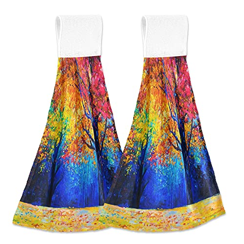 Toallas de cocina con pintura al óleo para árbol, 2 unidades, secado rápido, súper suave, absorbente, para colgar, toalla para cocina, baño, inodoro, hogar, 30,5 x 43,2 cm