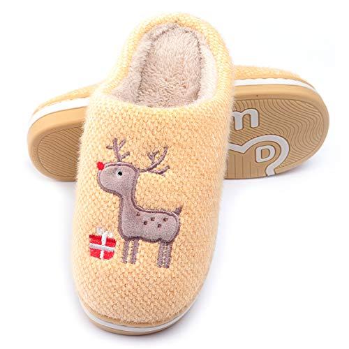 WINZYU Pantofole Donna Uomo Invernali Peluche Morbido Caldo Antiscivolo Renna Regalo Scarpe da Casa, Giallo 38/39 EU