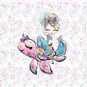 Herz Stoffe Österreich 1 Sommersweat/French Terry Stoff Panel (39x52cm) Nixe Mermaid Mädchen und Schildkröte rosa Gold grün pink türkis Mint Einzelmotiv Ökotex