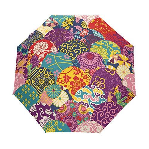 Flor Colorida Vintage Paraguas Plegable Hombre Automático Abrir y Cerrar Antiviento Protección UV Ligero Compacto Paraguas para Viajes Playa Mujeres Niños Niñas