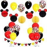 Mickey Mouse Themed Decoraciones de fiesta con globos de confeti Rojo Amarillo Negro, Mickey Ears Garland, Bolas de nido de abeja de papel para Baby Shower, Decoraciones de cumpleaños