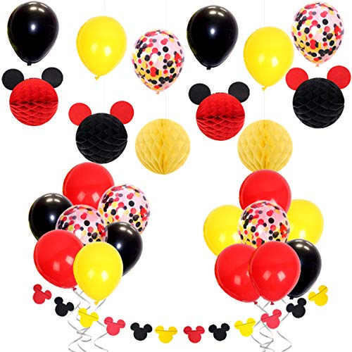 Mickey Themed Party Decorations with Red Yellow Black Confetti Balloons, Minnie Ears Garland, Paper Honeycomb Balls for Baby Shower, Kids 1st 2nd 3rd Birthday Party Suppliers