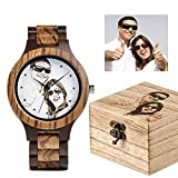 RSGK Men's Quartz Wood Watch, Customizable Dial Pattern, Used for Anniversary Birthday Graduation Wedding Design, Husband and Boyfriend Love Father and Mother Engraved Watch