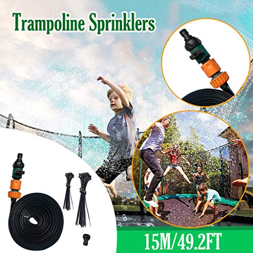 LUCKME Fun Summer Pools Trampoline Sprinkler, Water Park Sprinkler Hose Pipe Fun Summer Games Sprinkler Toys Accessories Fun Summer Activities For Kids Outside Garden Yard (15m/49.2ft-Orange)