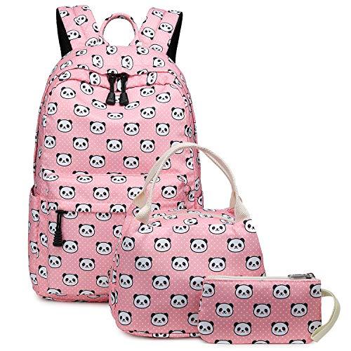 Abshoo Lightweight Cute Panda Backpacks for Girls School Backpacks With Lunch Bag (Panda Pink Set)