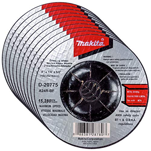 Makita 10 Pack - 4 Inch Grinding Wheel For 4' Grinders - Aggressive Grinding For Metal - 4' x 1/4' x 5/8'