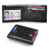RUNBOX Slim Wallets for Men with RFID Blocking & Minimalist Mens Front Pocket Wallet Leather(black)