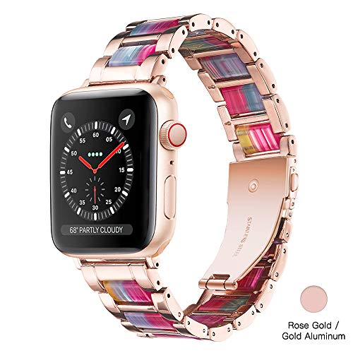 Light Apple Watch Band - Resin with Stainless Steel Luxury iWatch Band Bracelet Compatible with Comfortable Stainless Steel Buckle for Apple Watch Series 5 Series 4 3 2 1 (Rose-Rainbow, 42mm/44mm)
