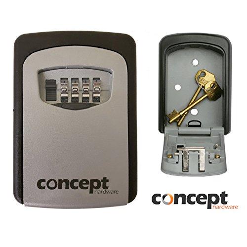 Caja de almacenamiento de seguridad para guardar llaves de repuesto, caja apta apta estar en exteriores, se bloquea mediante un código, se monta en la pared