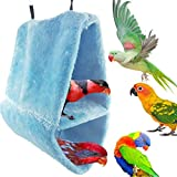 Warm Double-Layer Lint Bird Hammock Nest Sleeping Bed for Bird Parrot Budgie Parakeet Cockatiel Conure Lovebird Finch Canary Cockatoo African Grey Macaw Eclectus Amazon Cage Stand Perch Toy (L)