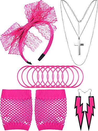 Accessoires de Costume des Années 80, Gants en Résille Serre-Tête en Dentelle Boucles d'Oreilles Collier Bracelet pour la Fête des Années 80 (Rouge Rose, Style B)